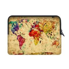 CASECOCO Vintage World Map Water Resistant Neoprene Laptop Sleeve 17 17.3  Inch Notebook Computer Bag Case Cover(Twin Sides) def2ee5985855