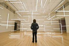 A Geometric Labyrinth of 200 Fluorescent Lights at Frye Art Museum light installation