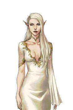 f High Elf Sorcerer Robes Female Elf Aristocrat Sorcerer - Pathfinder PFRPG DND D&D d20 fantasy