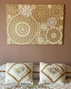 Framed Doilies, Lace Doilies, Crochet Wall Art, Crochet Home, Diy Crafts To Sell, Home Crafts, Arte Pallet, Doily Art, Doilies Crafts