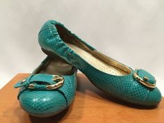 Marc Joseph Rockaway Flats Turq Sz 9 Snake Skin Print Ballet Shoes leather #MarcJoseph #BalletFlats