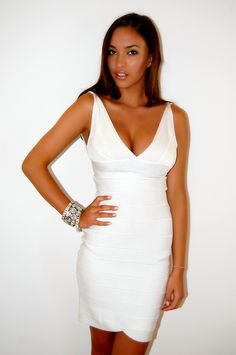 White Deep V Bandage Dress