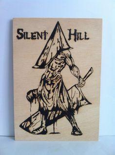 Pyramid head silent hill wooden woodburning wall art, $24.99