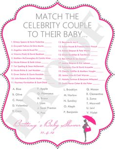 clebrity baby shower   Celebrity Baby Shower Game JPEG File Pink & Gray by PoshPapetiere