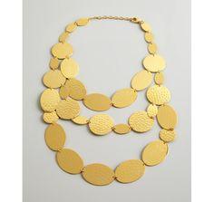 Jardin gold triple strand hammered metal bib necklace