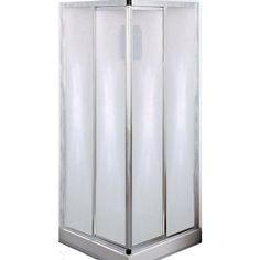 x x Corner entry with 15 x 15 central drain. Polystyrene base and wall with shelves. Downstairs Bathroom, Small Bathroom, Bathroom Ideas, Lighthouse Bathroom, Stores, Sliding Doors, Shelving, Candle Holders, Chrome