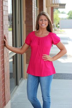 Solid Short Sleeve Baby Doll Top-FUCHSIA, $22.00