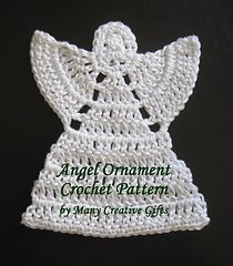 This pattern is available as a free Ravelry download  This angel ornament is made with a DK weight mercerized cotton yarn and works up all in one piece!  By Phyllis Serbes