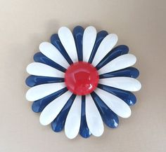 Vintage Red White Blue Large Enamel Flower by LeesVintageJewels