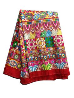 half-mtr-blouse-kurti-dress-material-Cotton-Mix-Red-heavy-embroidered-fabric