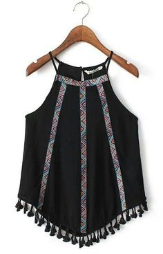 SheIn offers Black Fringed Hem Embroidery Spaghetti Strap Tank Top & more to fit your fashionable needs. Boho Fashion, Fashion Outfits, Womens Fashion, Fashion Trends, Street Fashion, Trendy Fashion, Bohemian Mode, Boho Chic, Mode Style