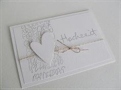 Und es sind noch ein paar Hochzeitskarten entstanden. Auch unabhängig von irgendwelchen Designerpapieren. Mit ganz viel Liebe und ♥ .....