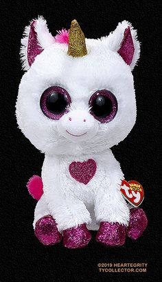 Cherie (medium), Ty Beanie Boos unicorn, reference information and photograph. All Beanie Boos, Beanie Babies, Plastic Canvas Tissue Boxes, Plastic Canvas Patterns, Ty Beanie Boos Collection, Ty Stuffed Animals, Cool Beanies, Ty Plush, Ty Toys