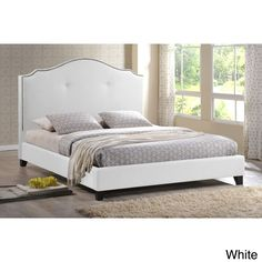 Baxton Studio Marsha Scalloped White Modern Bed with Upholstered Headboard (Queen Size Bed-White)