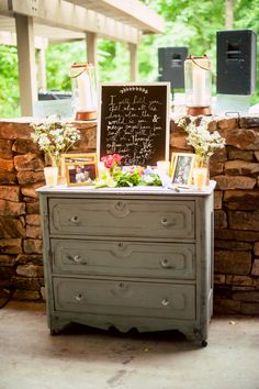 There are few ways to make a wedding or engagement shoot more cozy + intimate than to bring in worn and weathered furniture (in this case, a dresser) + personalize it with all kinds of gorgeous things! Make your ceremony + reception your own with each little detail. ::Lindsey + Josh's shabby chic wedding at McDaniel Farm Park in Gwinnett, Georgia:: atmosphere, wedding decoration + design, rustic