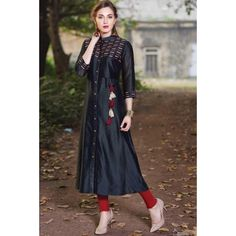 Buy Samyakk Black Silk Embroidered Front Cut Kurti online in India at best price. Buy Tunics & Kurtis Blue Resham Thread Work Online Samyakk Bangalore