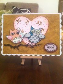 Owls - Still Having a Hoot 35th Wedding Anniversay 5 x 7 card