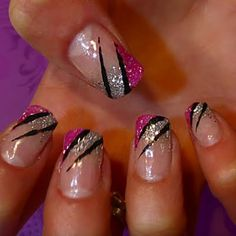 Pink and Sparkle Stripped Nails