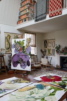 Studio photography of artist, Sarah Graham by Greg Funnell Art Studio Design, Art Studio At Home, Studio Studio, Studio Spaces, Sarah Graham Artist, Art Studios, Music Studios, Botanical Art, Artist At Work