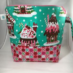Gingerbread House Zippered Knitting Crochet Craft Project Bag by partyof5crafts on Etsy