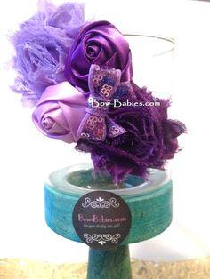Vintage Purple Rosette Shabby Baby Headband