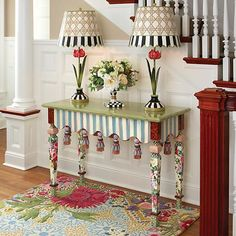 Even though the Marble Entry Table has an array of it's own patterns and colors, the pastel tone makes it available to be blended with other patterns and colors easily. Whimsical Painted Furniture, Painted Chairs, Hand Painted Furniture, Funky Furniture, Paint Furniture, Repurposed Furniture, Furniture Makeover, Furniture Design, Chair Design