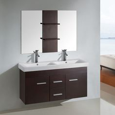 FREE SHIPPING! Shop Wayfair for Kokols 47 Double Floating Bathroom Vanity Set with Mirror - Great Deals on all Home Improvement products with the best selection to choose from!