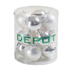 12er-Set Kugelbox Glas weiß ca D:6 cm