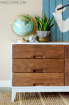 DIY Crate and Barrel Midcentury Modern Inspired Dresser via MakelyHome.com