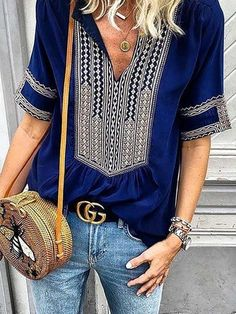 edc847b1fe6 Casual Printed Short Sleeve V neck Tribal Plus Size Blouse Plus Size  Blouses