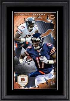 Alshon Jeffery Chicago Bears 10'' x 18'' Vertical Framed Photograph with Piece of Game-Used Football - Limited Edition of 250
