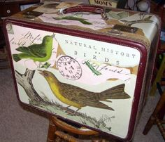Beautiful decoupaged luggage by DSS Designs on Etsy.