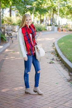 An easy way to style a blanket scarf
