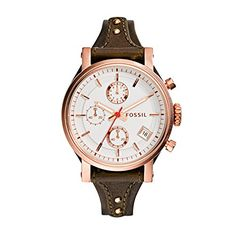 Fossil Women's ES3616 Original Boyfriend Rose Gold-Tone Watch with Brown Leather Band