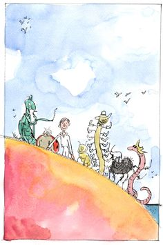 Quentin Blake's James and The Giant Peach illustration