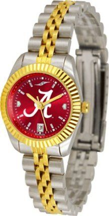 "Alabama Crimson Tide Executive Anochrome Ladies Watch by SunTime. $169.20. Calendar Date Function. Two-Tone Solid Stainless Steel Band. Safety Clasp. 23kt Gold Plate Bezel. Stainless Steel Case. Executive AnoChrome Ladies  Two Tone 1.25"" Diameter Case and Bracelet Accented With Ionic Gold Tone Plating  Bracelet Measures 8.25"" Including Watch  Fold Over Deployment Clasp  Shock Resistant  Fluted Ionic Plated Gold Tone Brass Bezel  Sparkling Red Sunray Dial With G..."