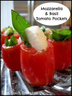 Easy, Delicious, Healthy And Adorable Mozzarella & Basil Tomato Pockets!