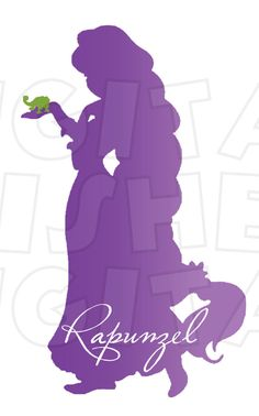 Rapunzel Silhouette INSTANT DOWNLOAD digital clip art iron on transfer for t-shirts My Heart Has Ears