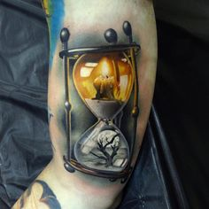 Life & Death Hourglass by Andres Acosta #tattoo #tattoos