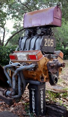 47 Insanely Unusual and Cool Mailboxes For Your Home Car Part Furniture, Automotive Furniture, Automotive Decor, Garage Furniture, Furniture Plans, Kids Furniture, Garage Interior, Automotive Tools, Rat Rods