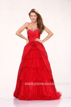 Red A-Line/Princess Long/Floor-length Prom Dress With Split Front And Sleeveless (MF43B5)-LuckyDressShop.com