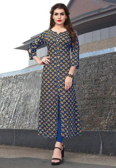 Casual Blue color Gown in Rayon fabric with Printed work Designer Party Wear Dresses, Kurti Designs Party Wear, Indian Designer Outfits, Formal Dresses With Sleeves, Simple Dresses, Printed Kurti Designs, Casual Gowns, Dress Indian Style, Indian Dresses