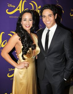 """Adam Jacobs (Aladdin) and Courtney Reed (Jasmine) at opening night for Disney's new hit musical, """"Aladdin."""""""