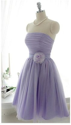 Chiffon lavender bridesmaid dress prom dress with sash flower knee length gown on Etsy, $66.00