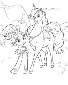 coloring page nella the princess knight nella trinket