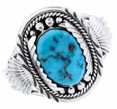 American Indian Sleeping Beauty Turquoise Sterling Silver Bracelet AW64903 SilverTribe. $379.99