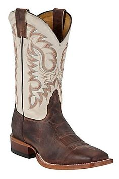 Nocona Men's Vintage Brown Cow with White Double Welt Square Toe Western Boots // Pretty boots.