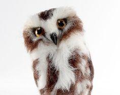 Needle Felted Saw Whet Owl, Owl Felt Sculpture, Owl Art