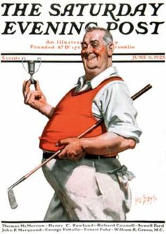 """size: Giclee Print: """"Golf Trophy,"""" Saturday Evening Post Cover, June 1925 by George Brehm : Canvas Art Prints, Painting Prints, Paintings, Golf Trophies, Golf Art, Saturday Evening Post, Vintage Golf, Norman Rockwell, Sports Art"""