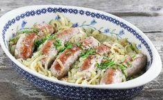 Biała kiełbasa smażona z cebulą Kielbasa, Kefir, Potato Salad, Sausage, Potatoes, Meat, Chicken, Ethnic Recipes, Food